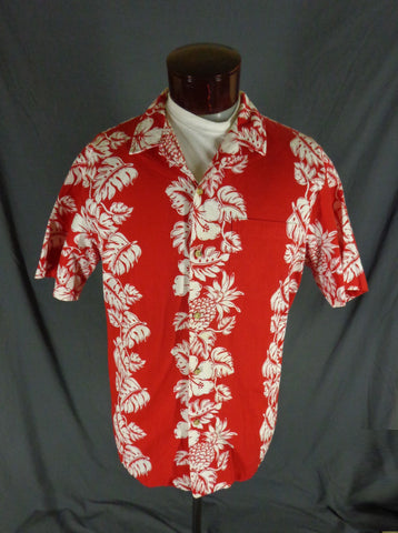 Vintage RJC Red 100% Cotton Classic Hibiscus Print Hawaiian Shirt - 47