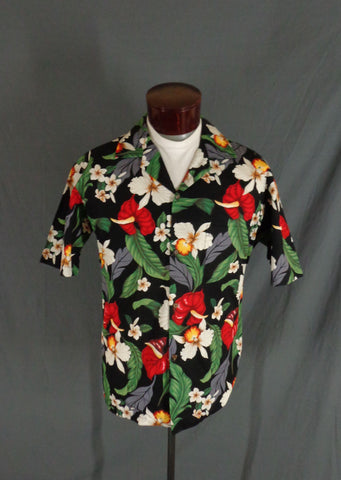 Vintage Aloha Republic Black Tropical Floral Print Hawaiian Shirt - Large
