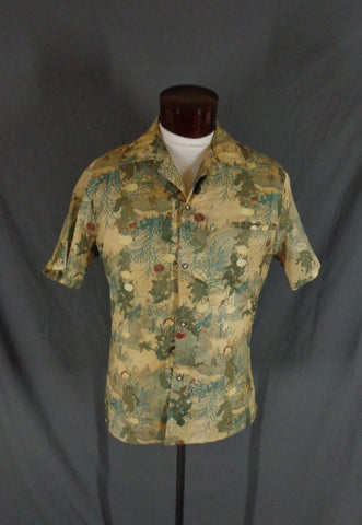 Vintage 70s Liberty House Asian Floral Print Hawaiian Shirt - 48