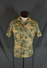 Vintage 70s Liberty House Green Earthtone Asian Floral Print Hawaiian Shirt - 48 gallery