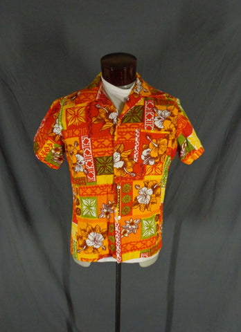 Vintage Red Orange & White Barkcloth Colorblock Hawaiian Shirt 44