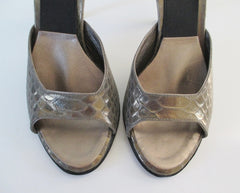 • Vintage Golden Bronze Snakeskin Springolators Heels Shoes 7 - Bombshell Bettys Vintage