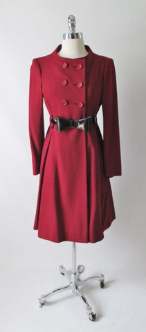 Vintage 60's Deep Red Wool Double Breasted Princess Coat Jacket