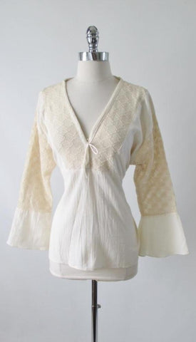 Vintage 70's Natural Sheer Crochet Lace Hippie Top Tunic Blouse L