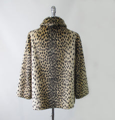 vintage 60's faux leopard fur pea coat back