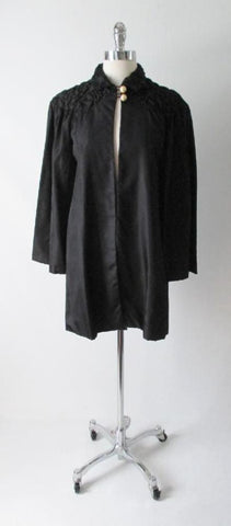 Vintage 30's 20's Quilted Black Taffeta & Pearl Deco Evening Box Bed Jacket Robe S / M