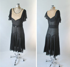 Vintage 20's  Black Chiffon and Natural / Ecru Lace Flapper Dress - Bombshell Bettys Vintage