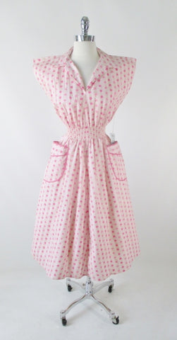 Vintage 50's Pink Roses Full Skirt Day / House Dress New Old Stock M