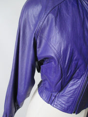vintage 80's michael Hoban North Beach Leather purple womens jacket coat pcoket