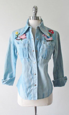 Vintage 70's Tie Dye Western Cut Sequins & Beaded Bird Shirt / Jean Jacket