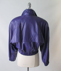 vintage 80's michael Hoban North Beach Leather purple womens jacket coat back