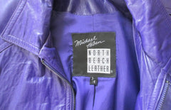 vintage 80's michael Hoban North Beach Leather purple womens jacket coat tag