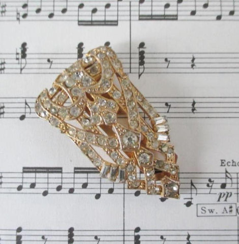 Vintage Art Deco Gold Rhinestone Dress Scarf Clip