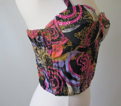 Vintage 80's 90's Abstract Swirl Sequins Corset Top Shirt Bustier M - Bombshell Bettys Vintage