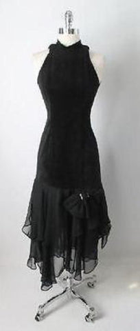 Vintage 80's Black Suede Leather & Chiffon Hem Cut Out Glam Rock Party Dress S