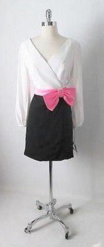 Vintage 60's Black & White Barbie Pink Bow Wrap Cocktail Party Mini Dress M
