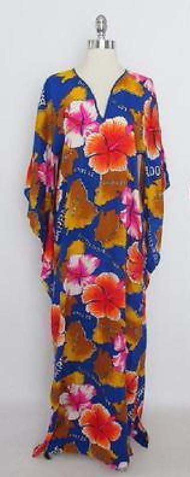 Vintage 60's Kaftan Tunic Dress Draped Batwing Sleeve Beach Cover Tiki Luau M - Bombshell Bettys Vintage