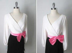 Vintage 60's Black & White Barbie Pink Bow Wrap Cocktail Party Mini Dress M - Bombshell Bettys Vintage