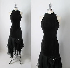 Vintage 80's Black Suede Leather & Chiffon Hem Cut Out Glam Rock Party Dress S - Bombshell Bettys Vintage