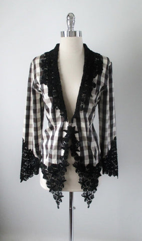 Vintage Ozbeck Victorian Gothic Lace Black White Gingham Plaid Jacket M