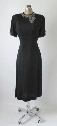 Vintage 40's Black Rayon Rhinestone Bustle Back Evening Party Dress NOS S
