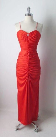 Vintage 70's 50's Inspired Red Fredericks Hollywood Bombshell Evening Party Dress Gown S