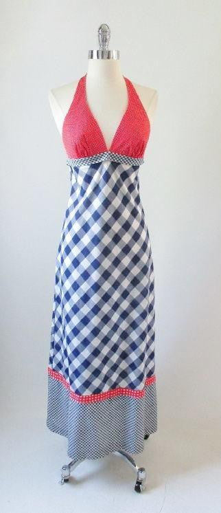 vintage 70's red white blue gingham maxi halter dress gallery