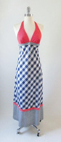 Vintage 70's Gingham Plaid & Polka Dot Red White Blue Halter Dress XS
