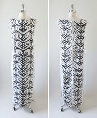 Vintage 60's Wild Black White Op Art MOD Full Length Hawaiian Shift Maxi Dress L - Bombshell Bettys Vintage