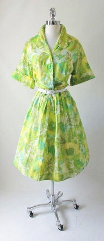 Vintage 50's Abstract Floral Full Skirt Shirtwaist Day Dress 48 37 XL XXL