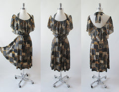 Vintage 70's Patchwork Quilt Calico Flower Hippy Sundress Halter Dress M - Bombshell Bettys Vintage