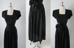 Vintage 40's Black Layered Deco Collar Rayon Swing Skirt Day Dress S - Bombshell Bettys Vintage