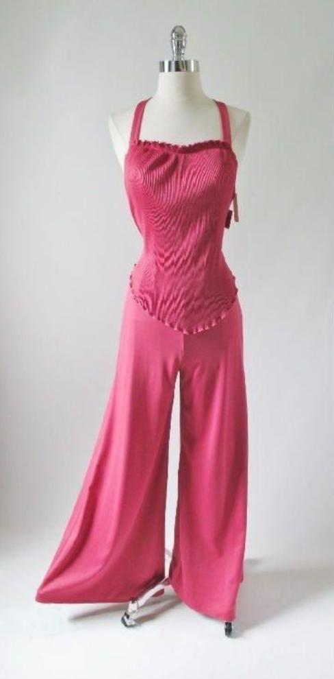 vintage 70's rose pink accordion pleat disco jumpsuit gallery