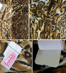 Vintage 60's Fredericks Of Hollywood Jungle Jersey Leopard Robe Dressing Gown S - Bombshell Bettys Vintage
