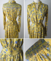 Vintage 70's Yellow Blue Flower Keyhole Day Tent Dress Tricoville England L - Bombshell Bettys Vintage