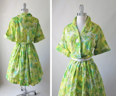 Vintage 50's Abstract Floral Full Skirt Shirtwaist Day Dress 48 37 XL XXL - Bombshell Bettys Vintage