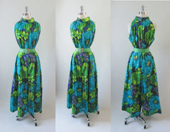 • Vintage 60's Bold Hawaiian Wide Leg Ankle Sweeper Palazzo Pants Jumpsuit M - Bombshell Bettys Vintage