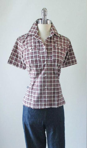 Vintage 50's Black Red Plaid Rockmount Ranchwear Western Top Shirt S