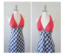 vintage 70's red white blue gingham maxi halter dress bodice