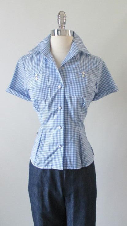 Blue White Gingham Authentic 50's Style Rockmount Western Top Shirt Blouse S - Bombshell Bettys Vintage