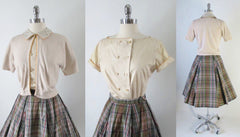 Vintage 50's Plaid Full Swing Skirt Matching Blouse Top Sweater Girl Set bodice