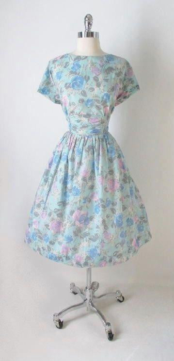 Vintage 50's Aqua Pink Blue Rose Buckle Back Full Swing Skirt Tea Party Dress M - Bombshell Bettys Vintage