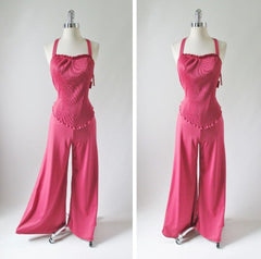 vintage 70's rose pink accordion pleat disco jumpsuit full