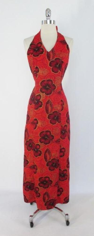Vintage 70's Red Gold Tropical Flower Hawaiian Full Length Maxi Halter Dress S - Bombshell Bettys Vintage