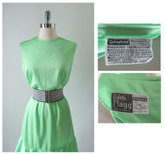 Vintage 60's 70's Edith Flagg MOD Lime Green Ruffle Mini Dress L - Bombshell Bettys Vintage