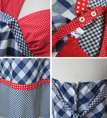 vintage 70's red white blue gingham maxi halter dress details
