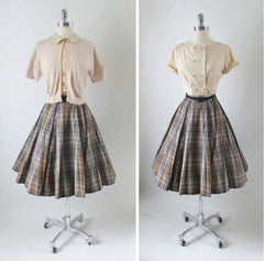 Vintage 50's Plaid Full Swing Skirt Matching Blouse Top Sweater Girl Set full