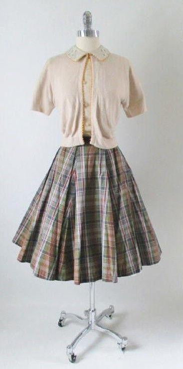 1950's vintage sweater skirt top set plaid gallery