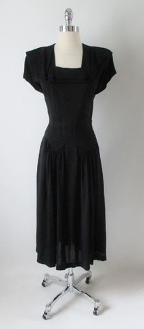 Vintage 40's Black Layered Deco Collar Rayon Swing Skirt Day Dress S