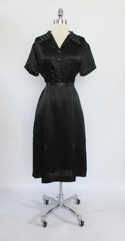 Vintage 30's Black Satin White Polka Dot Rayon Day Dress L